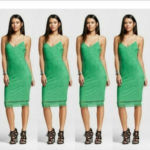 Xoxo Women's Faux Suede Laser Cut Midi  Dress